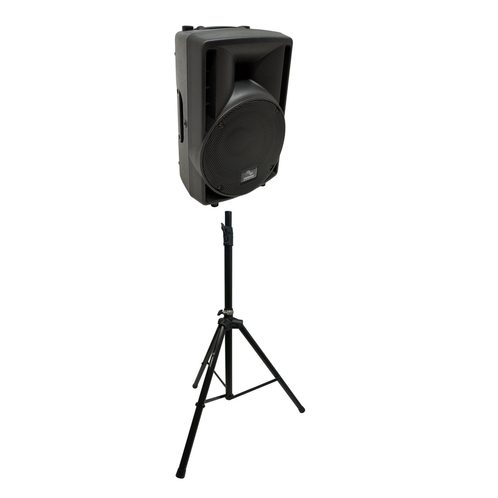 "Harmony Audio Single Tripod Speaker Stand with Harmony Audio Pro DJ Concert Series 8"" Powered 300W PA Speaker Cabinet"