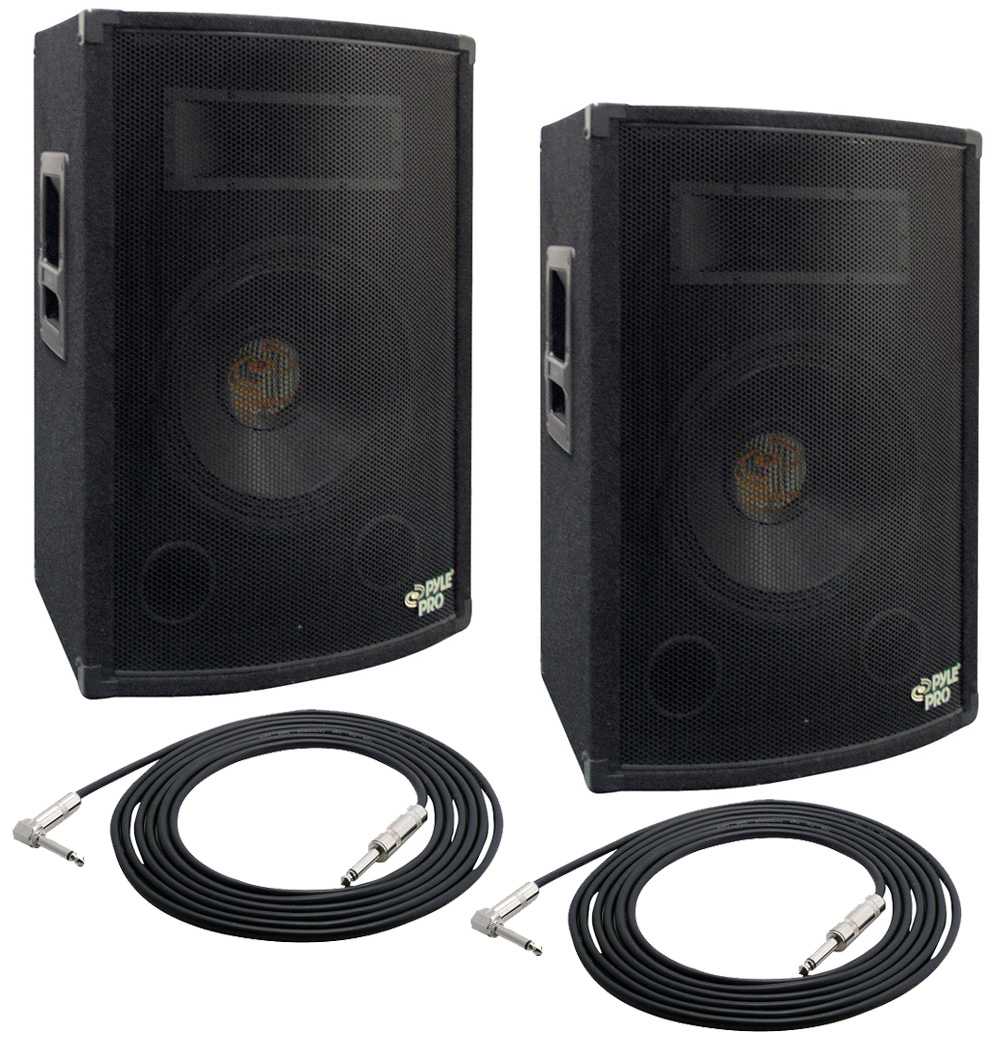 pyle pro audio 2 padh1079 dj passive 1000 watts 2 way 10 cabinet speakers pair with 50 cables. Black Bedroom Furniture Sets. Home Design Ideas