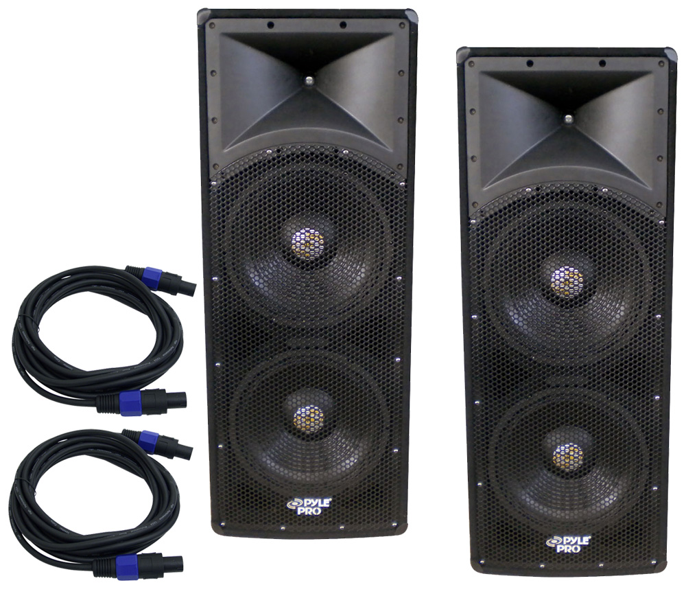 pyle pro audio 2 padh153 dj passive 3200 watts 3 way dual 15 speakers pair package with 75. Black Bedroom Furniture Sets. Home Design Ideas