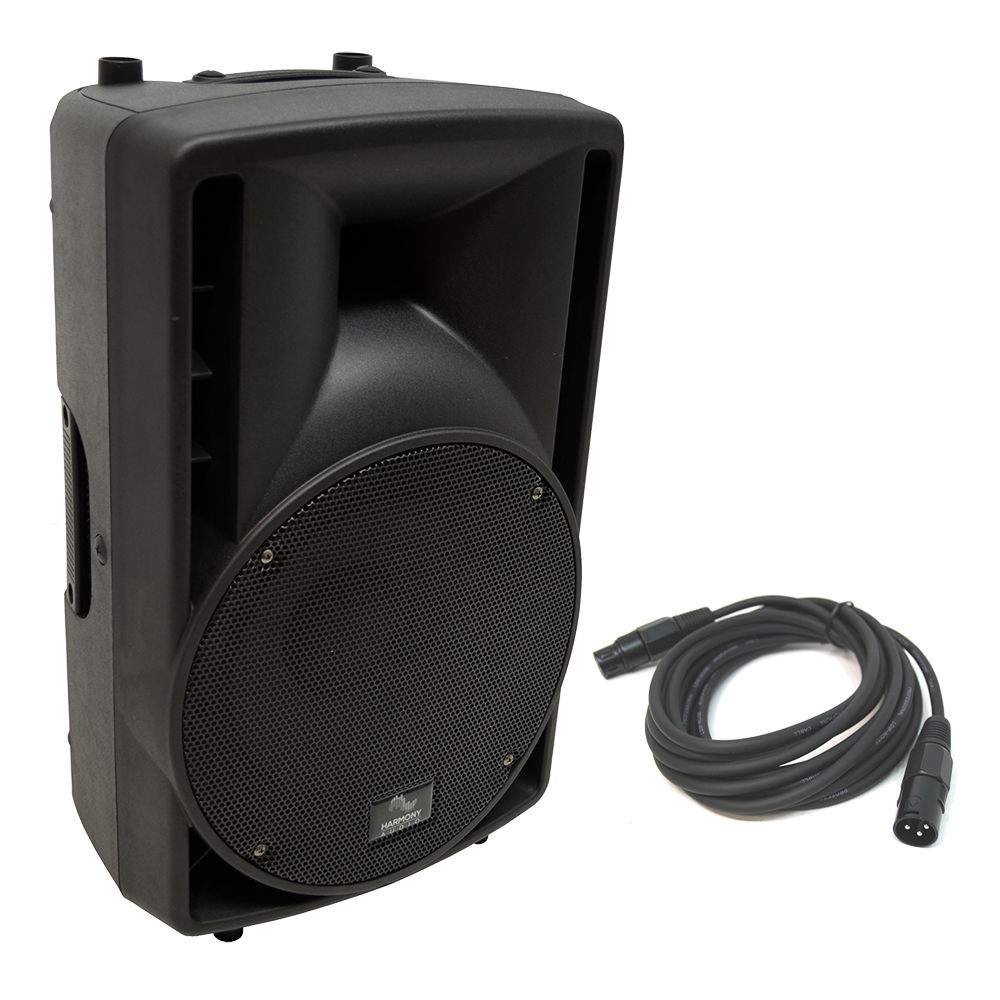 "Harmony Audio HA-C10A Pro DJ 10"" Powered 400W Active PA Speaker & 15FT XLR Cable"