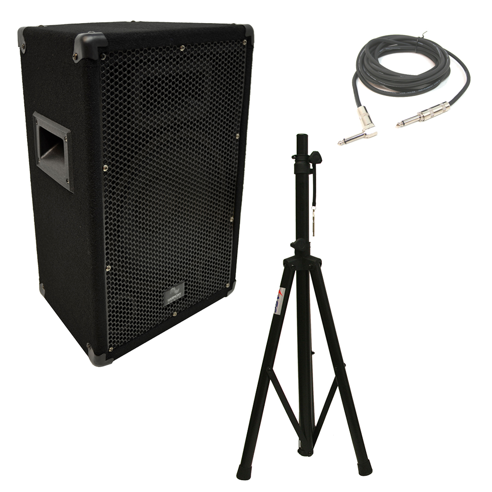 "Harmony Audio HA-V10P Pro DJ 10"" Passive 300W PA Speaker 1/4"" Cable & Stand New"