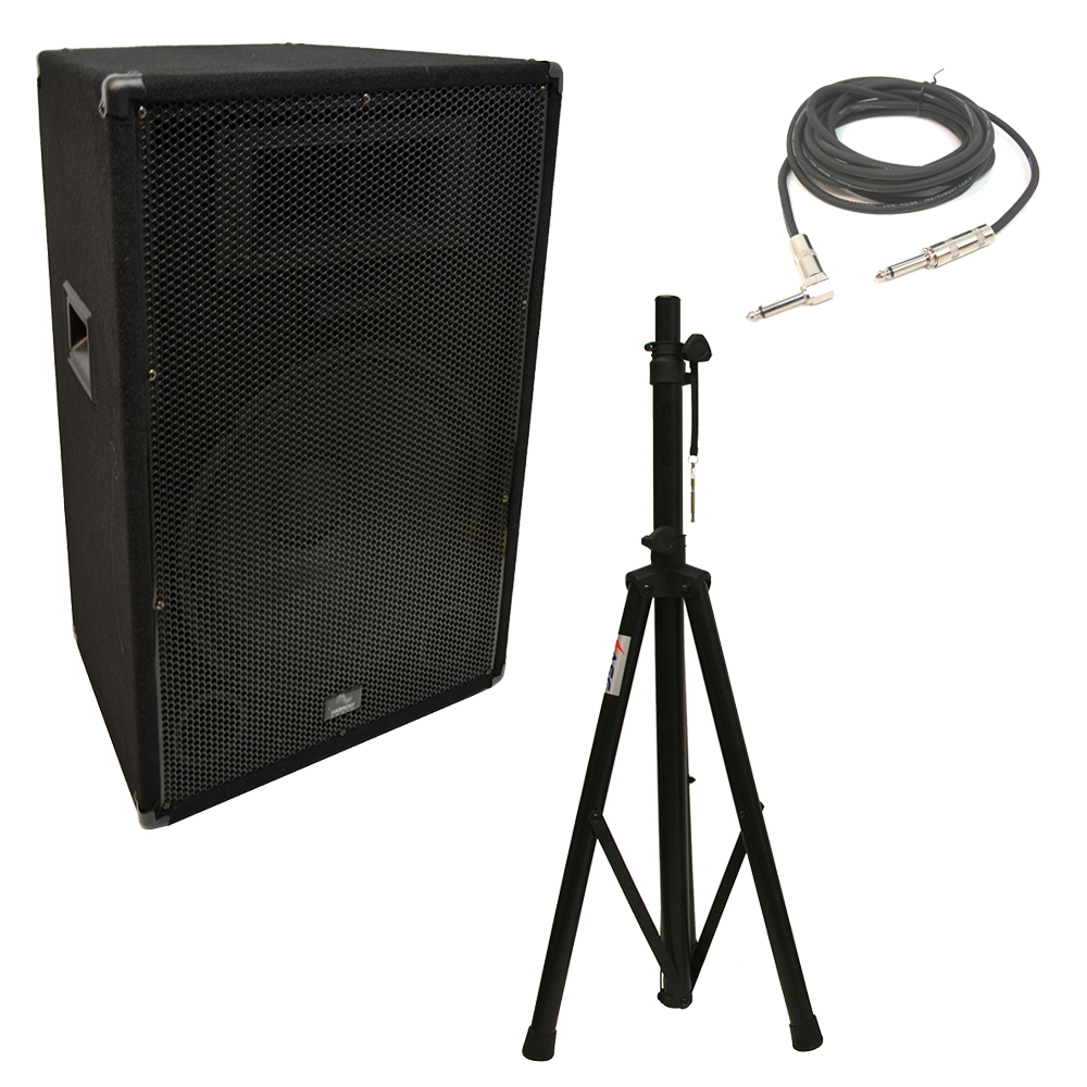 "Harmony Audio HA-V15P Pro DJ 15"" Passive 900W PA Speaker 1/4"" Cable & Stand New"
