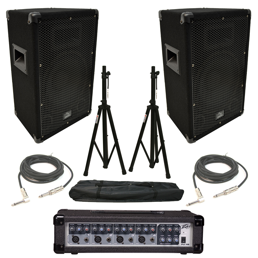 "(2) Harmony HA-V10P 10"" DJ PA Speaker Peavey PVi 4B Powered Mixer Cables Stands"