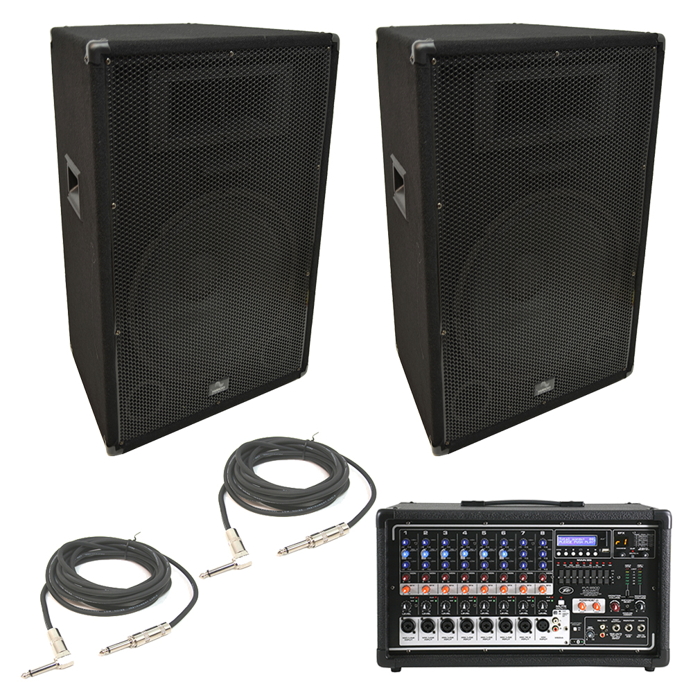 2 harmony ha v15p 15 900w pa speaker peavey pvi 8500 powered mixer cables new ha pa package85. Black Bedroom Furniture Sets. Home Design Ideas