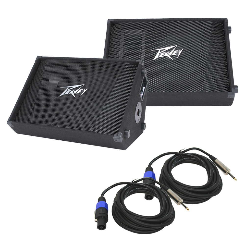 """(2) Peavey PV 15M Pro Audio DJ Passive 15"""" Stage Monitor 1000W Speaker with 1/4"""" to Speakon Cable"""
