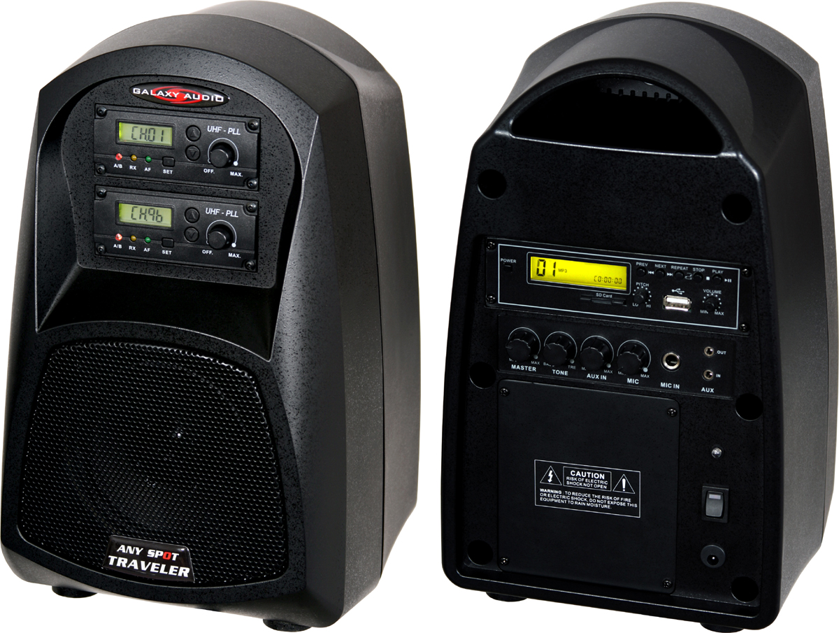 Galaxy Audio AS-TV5U1 Any Spot Traveler 5 Portable PA System with USB/MP3 Player & Choice of Wireless Mic