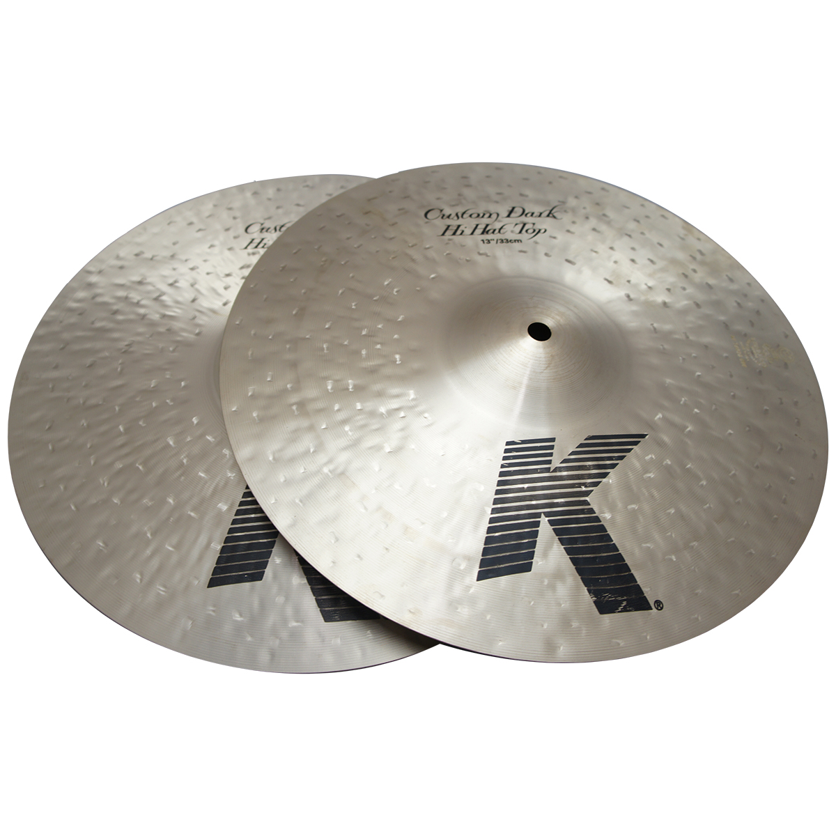 "Zildjian 13"" K Custom Series Dark Hi Hat Pair Drumset Cast Bronze Cymbals with Low to Mid Pitch and Warm Sound K0940"