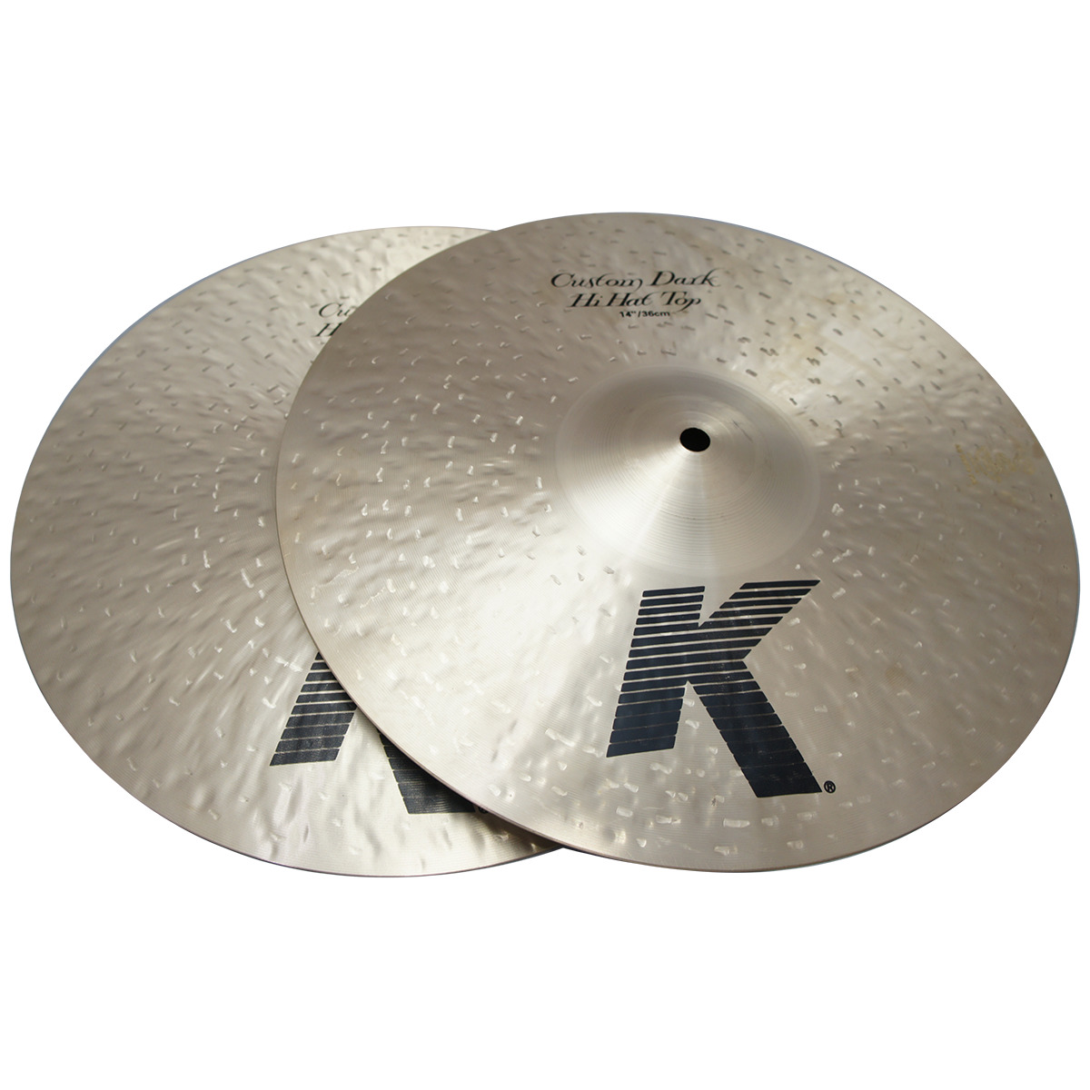 """Zildjian 14"""" K Custom Series Dark Hi Hat Pair Drumset Cast Bronze Cymbals with Low to Mid Pitch and Solid Chick Sound K0943"""