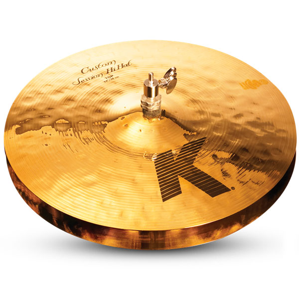 """Zildjian K0993 14"""" K Custom Series Session Hi Hat Pair Drumset Cast Bronze Cymbals with Solid Chick Sound and Small Bell Size"""