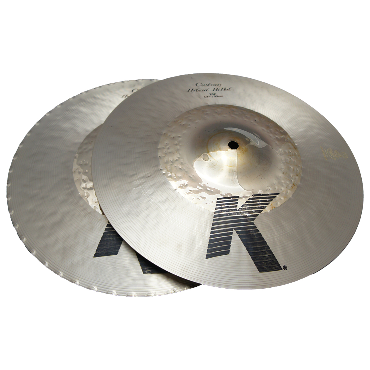 "Zildjian 13 1/4"" K Custom Series Hybrid Hi Hat Pair Drumset Cast Bronze Cymbals with Solid Chick Sound and Cut Balance K1213"
