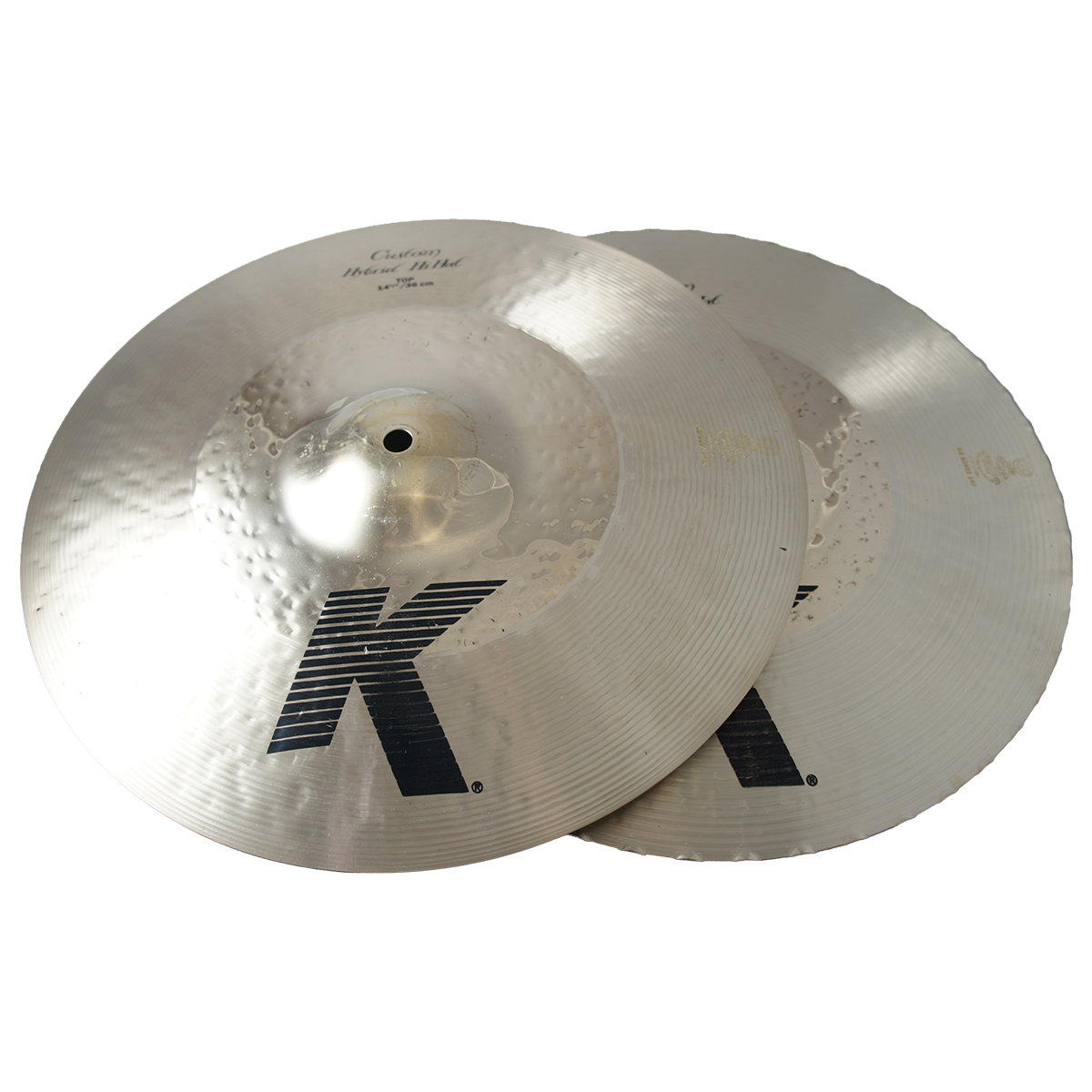 """Zildjian 14 1/4"""" K Custom Series Hybrid Hi Hat Pair Drumset Cast Bronze Cymbals with Solid Chick Sound and Small Bell Size K1224"""