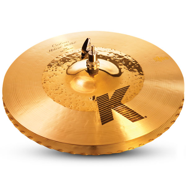 "Zildjian K1224 14 1/4"" K Custom Series Hybrid Hi Hat Pair Drumset Cast Bronze Cymbals with Solid Chick Sound and Small Bell Size"