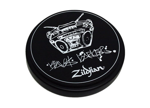"""Zildjian P1204 6"""" Travis Barker Practice Pad  a responsive playing surface with solid base and an 8mm mounting"""