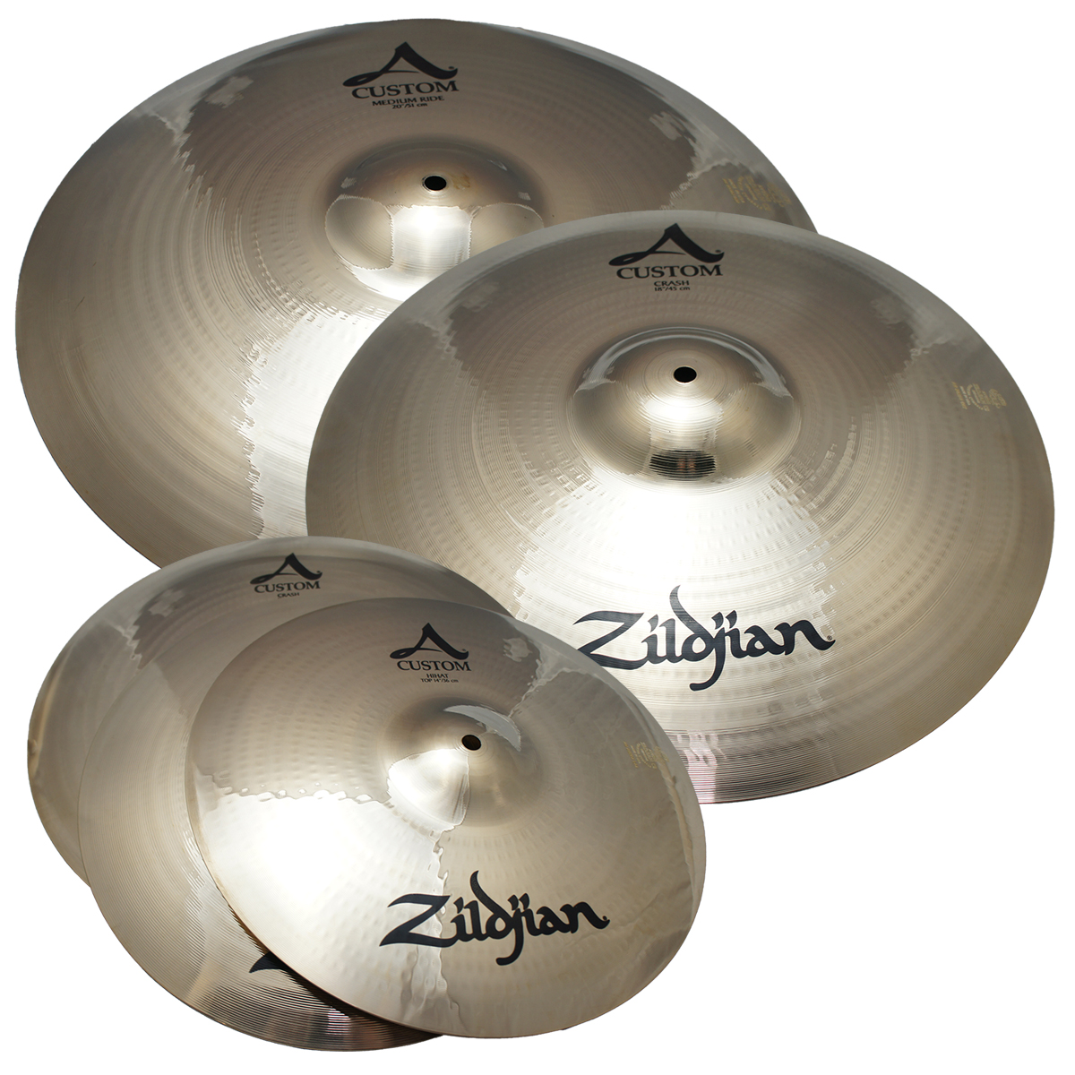 "Zildjian A20579-11 A Custom 4 Pack Matched Set Value Added 18"" Crash Cast Bronze Drumset Cymbals - Limited Quanities!"