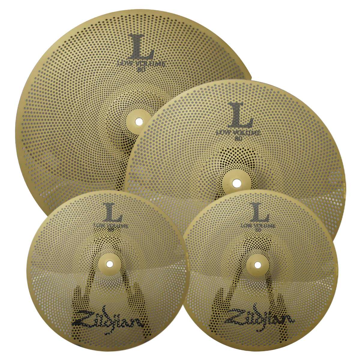 "Zildjian LV348 L80 Series Low Volume Cymbal Set w/ 13"" Hi-Hat Pair, 14"" Crash & 18"" Crash-Ride - Matte Finish"