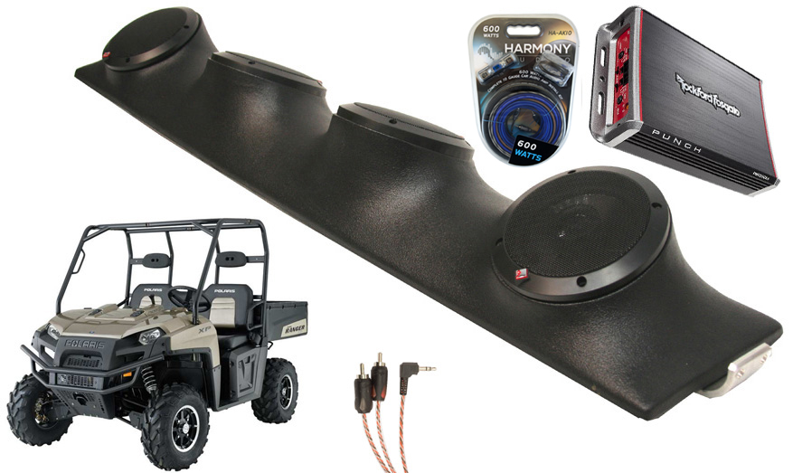 "Polaris Ranger Rockford R152 & PBR300X4 Amp Quad (4) 5 1/4"" Speakers UTV Pod System"