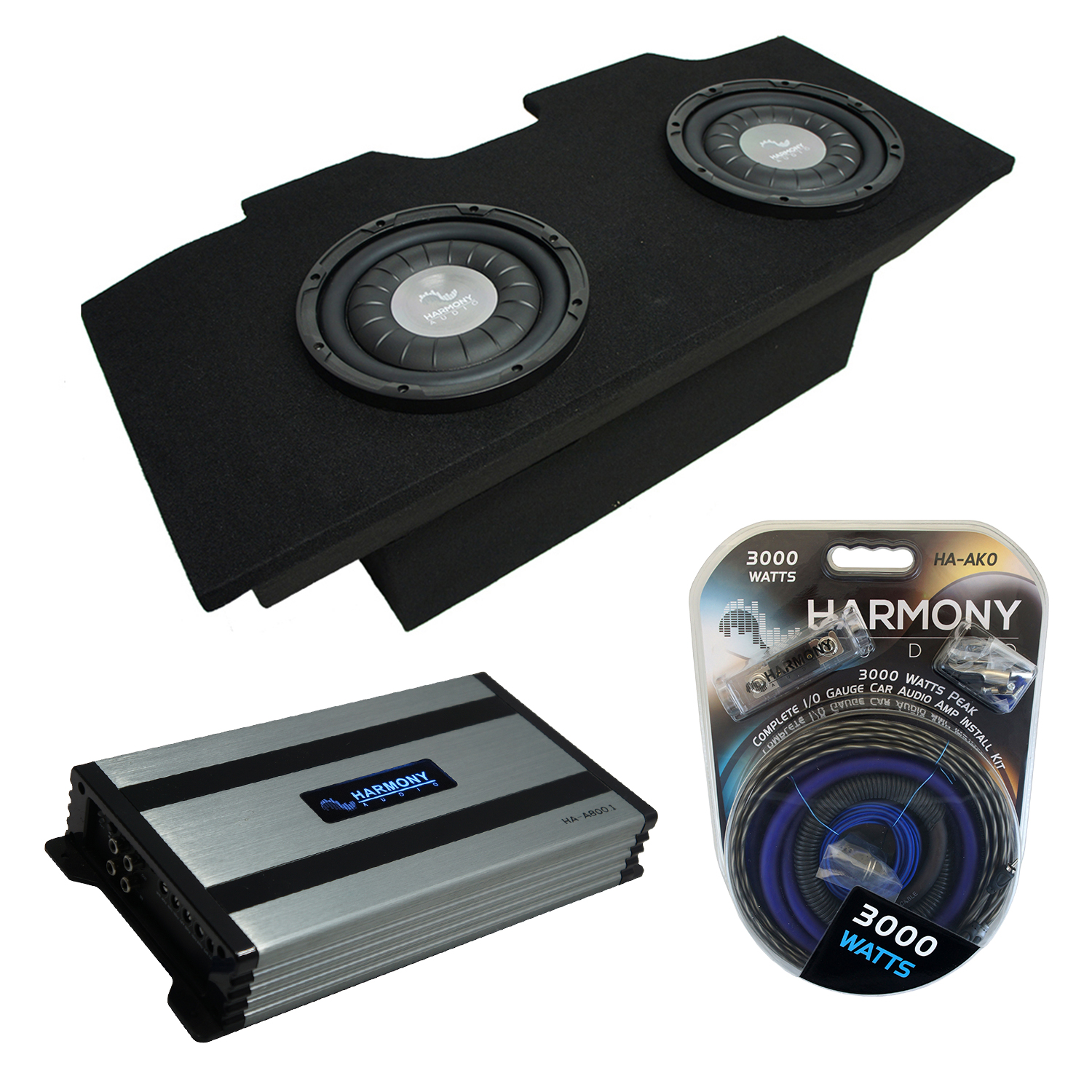 "Compatible with 1993-2002 Pontiac Firebird Coupe Harmony F124 Dual 12"" Sub Box Enclosure & Harmony HA-A800.1"