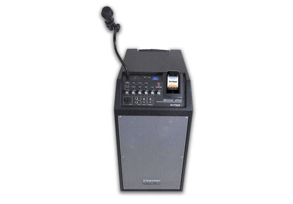 DJ Tech iBoost 202 Portable PA System with 5 Channel Mixer