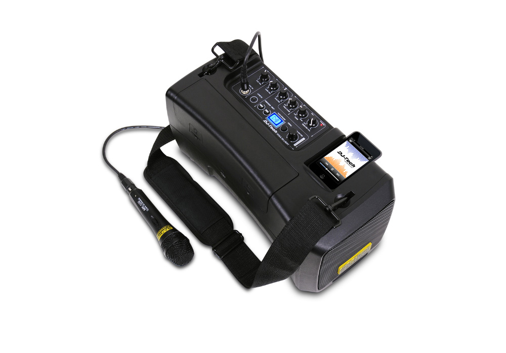 DJ Tech iVisa 50 Light Portable PA System with adjustable talkover function