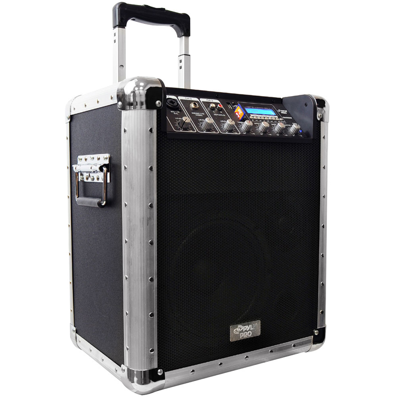 pyle pcmx260mb battery powered portable pa system w usb sd mp3 inputs microphone included. Black Bedroom Furniture Sets. Home Design Ideas