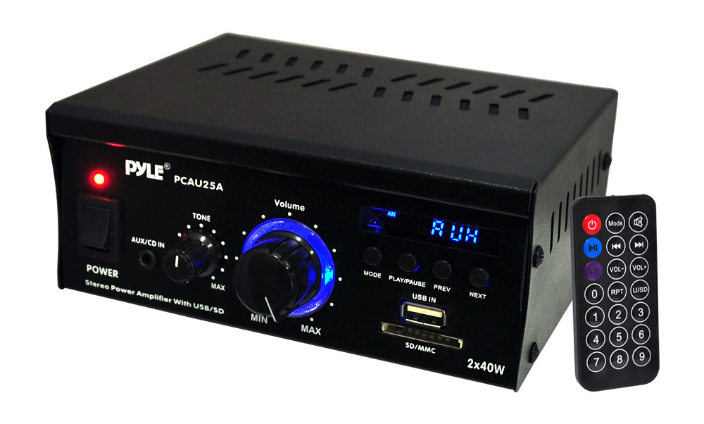 Pyle Home PCAU25A 2-Channel 40 Watt Stereo Power Amplifier with USB/SD  Receiver
