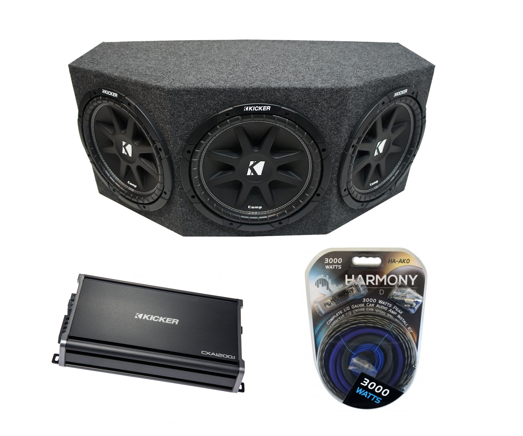 "Kicker Comp C10 Triple 10"" Subwoofer Loaded 1500 Watt Sub Box Enclosure & CX1200.1 Amp"