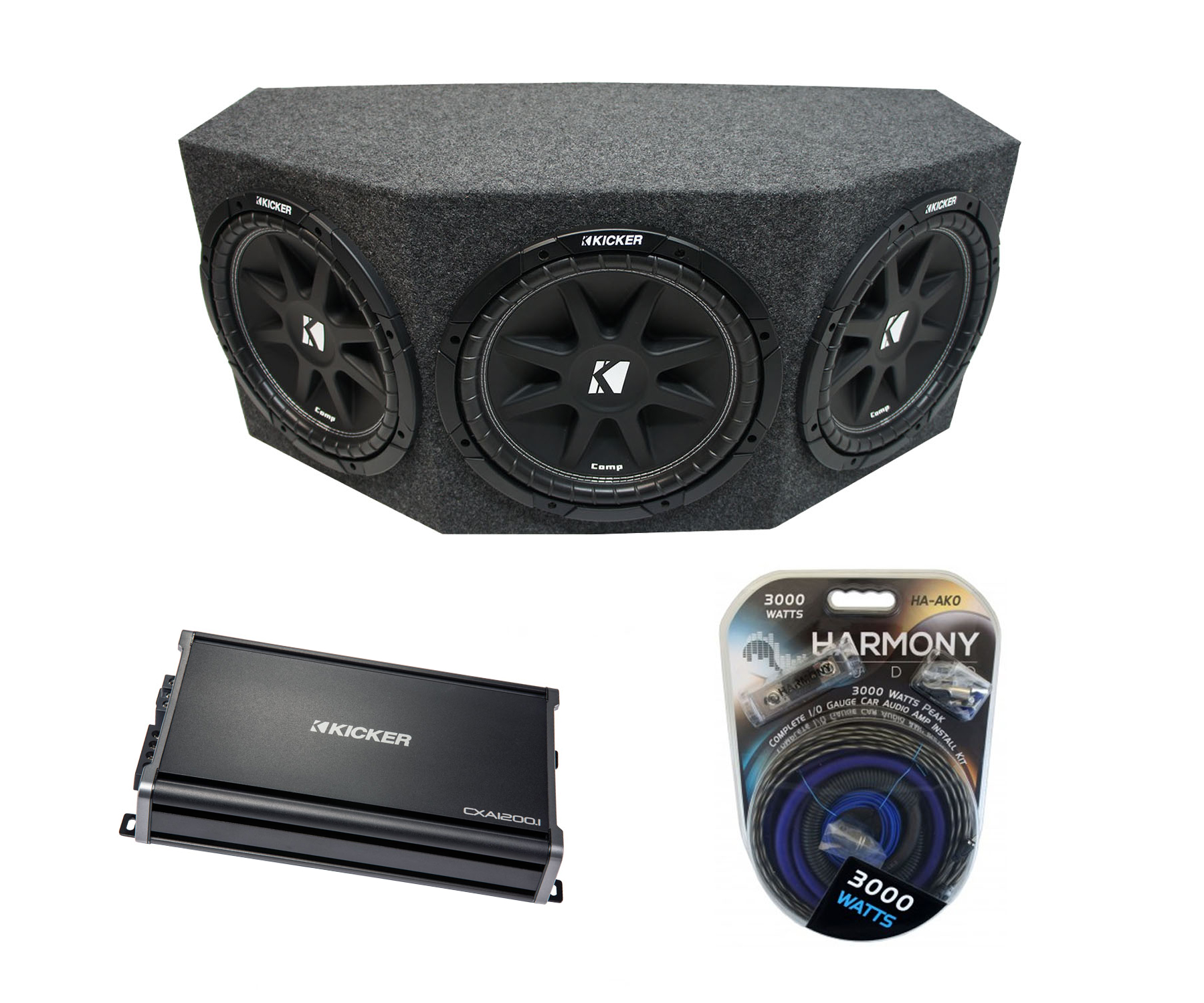 "Kicker Comp C12 Triple 12"" Subwoofer Loaded 1800 Watt Sub Box Enclosure & CX1200.1 Amp"