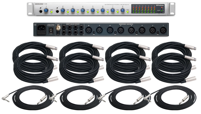 PreSonus DigiMax D8 Pro Audio 8CH Mic Microphone Pre Amp Amplifier with (8)  XLR Cables & (4) TRS 1/4
