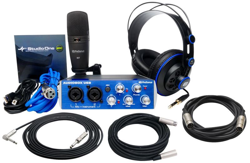PreSonus AudioBox Studio Pro Audio 2CH Computer Recording Package with $75  TRS, XLR & MIDI Cables