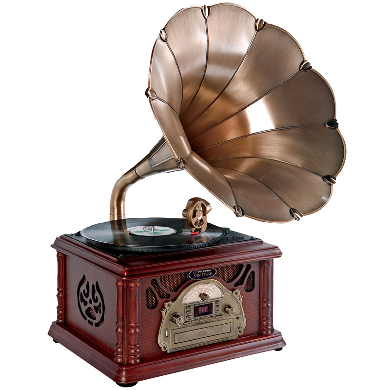 Pyle Home Audio PTCDCS3UIP Classical Trumpet Horn Turntable/Phonograph with AM/FM Radio CD/Cassette/USB & Direct to USB Recording