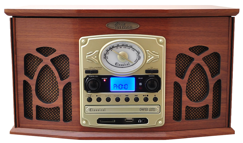 Pyle Home Ptcds7uiw Retro Vintage Turntable System W   Am  Fm Radio Wood Finish