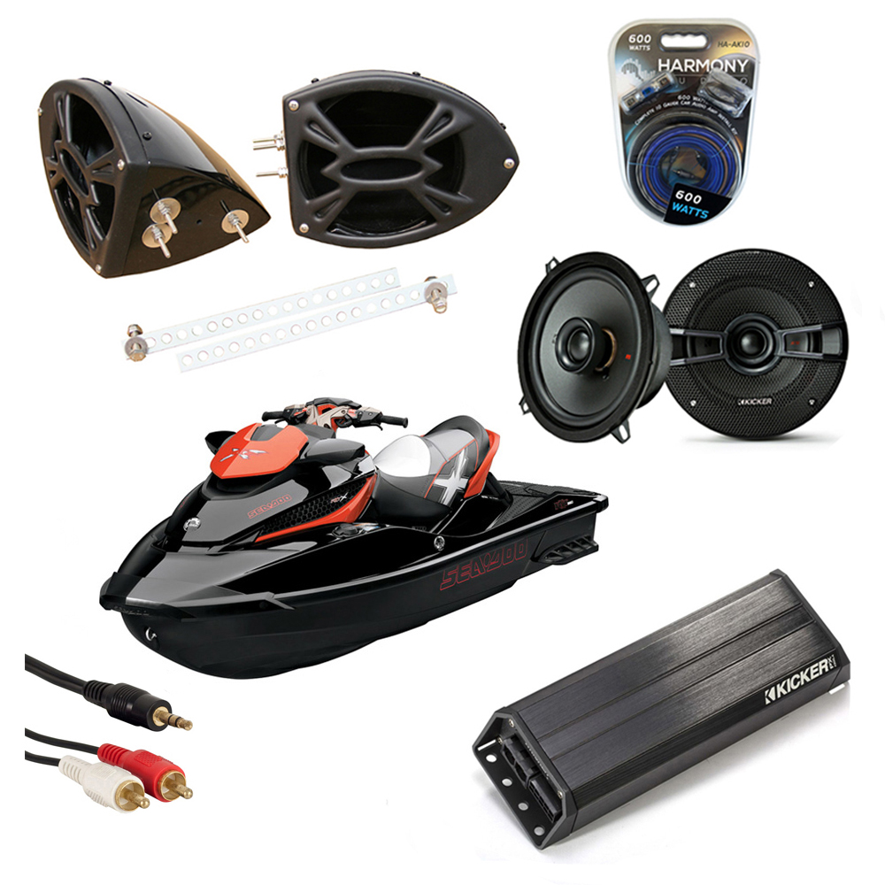 "Sea-Doo PWC Marine Kicker KS525 & PXA300.4 Amp Custom 5 1/4"" Black Speaker Pods System"