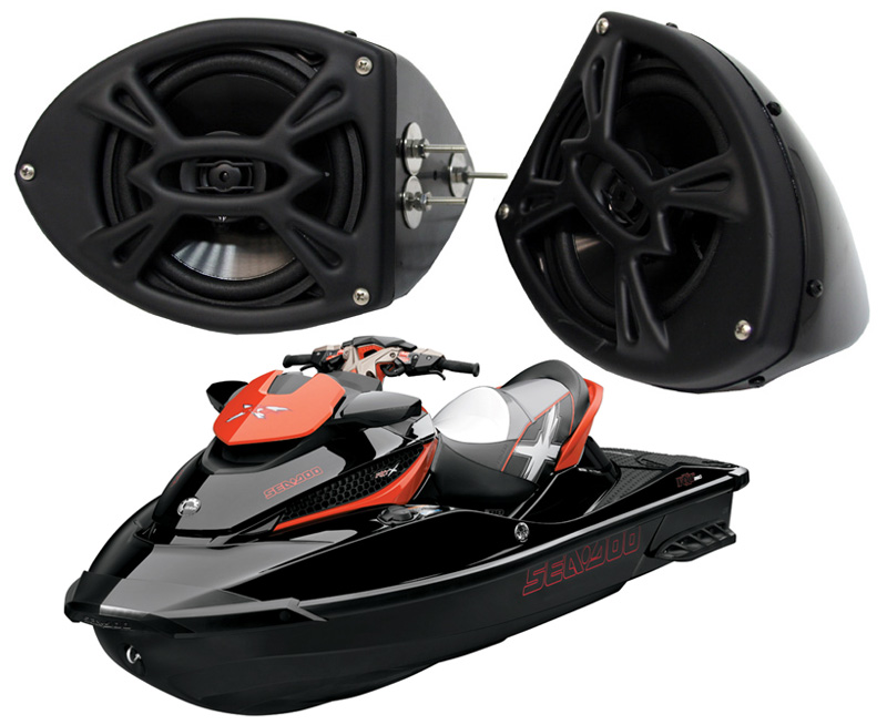 "Sea-Doo PWC Marine Rockford System P152 Custom 5 1/4"" Gloss Black Speaker Pods Pair"