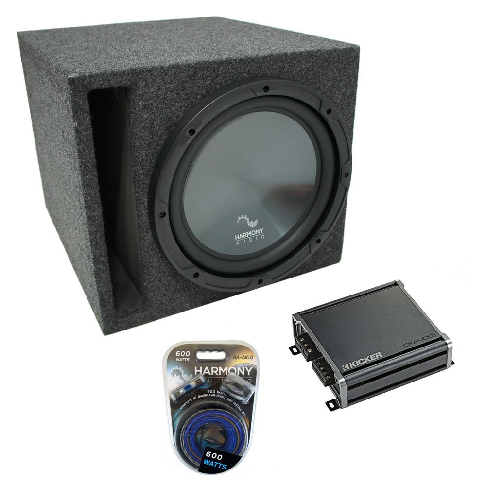 "Universal Car Stereo Slotted S Port Single 10"" Harmony R104 Sub Box & CXA400.1"