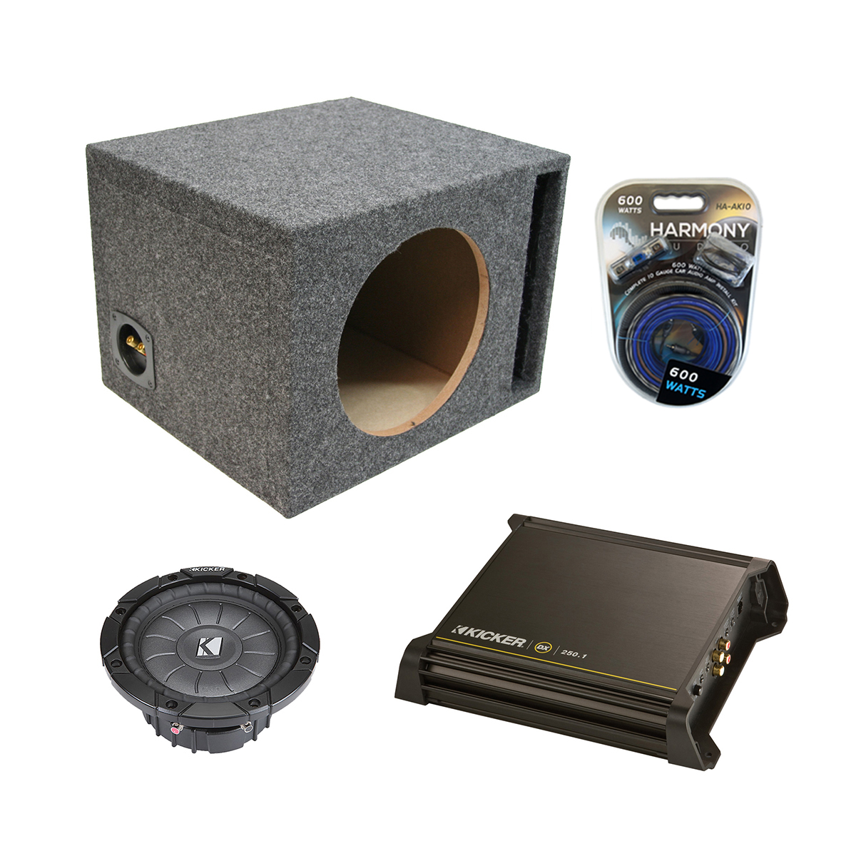 "Kicker Single 10"" Powered Vented CVT10 Sub Box W/ DX250.1 Amp & 10 Gauge Kit"