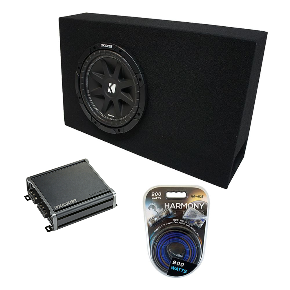 "Universal Regular Standard Cab Truck Kicker Comp C10 Ported 10"" Sub Box Enclosure & CX300.1 Amp"