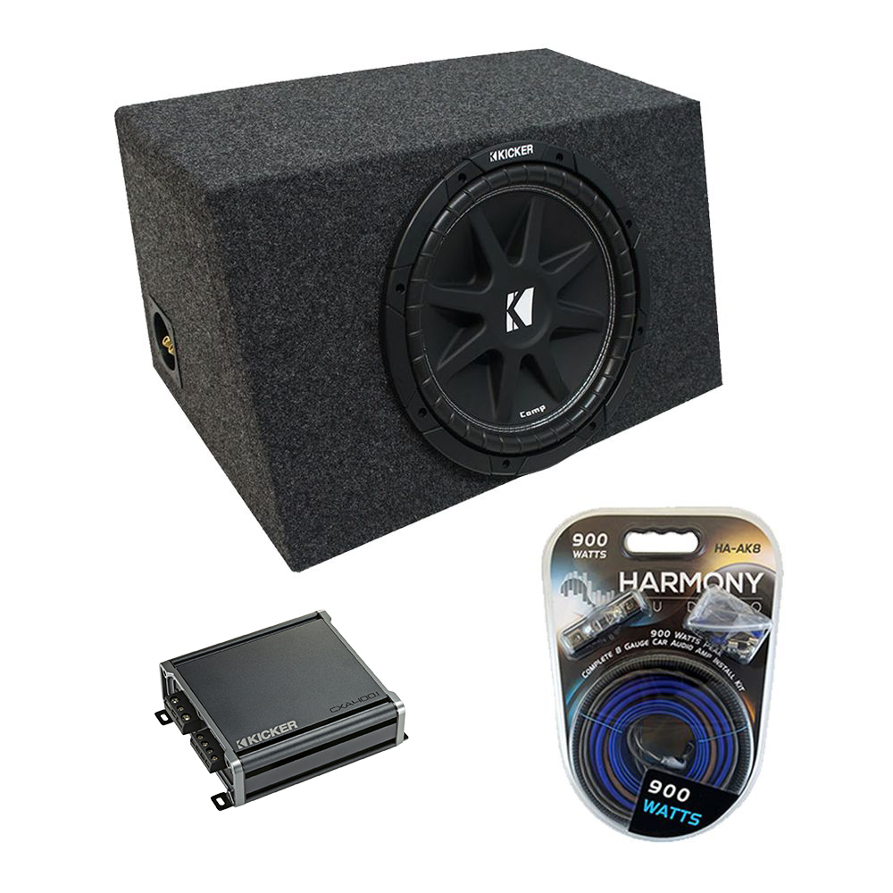 "Universal Car Stereo Hatchback Sealed Single 12"" Kicker Comp C12 Sub Box Enclosure & CX300.1 Amp"