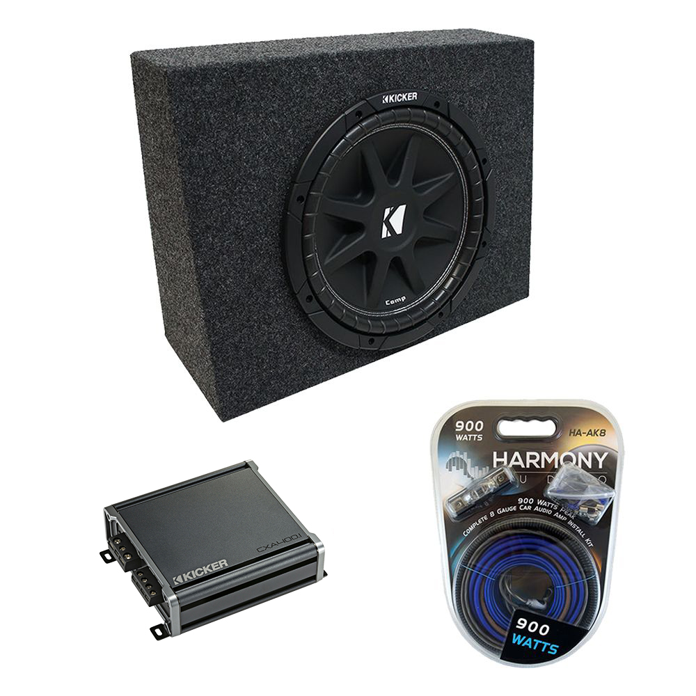 "Universal Regular Standard Cab Truck Kicker Comp C12 Single 12"" Sub Box Enclosure & CX300.1 Amp"