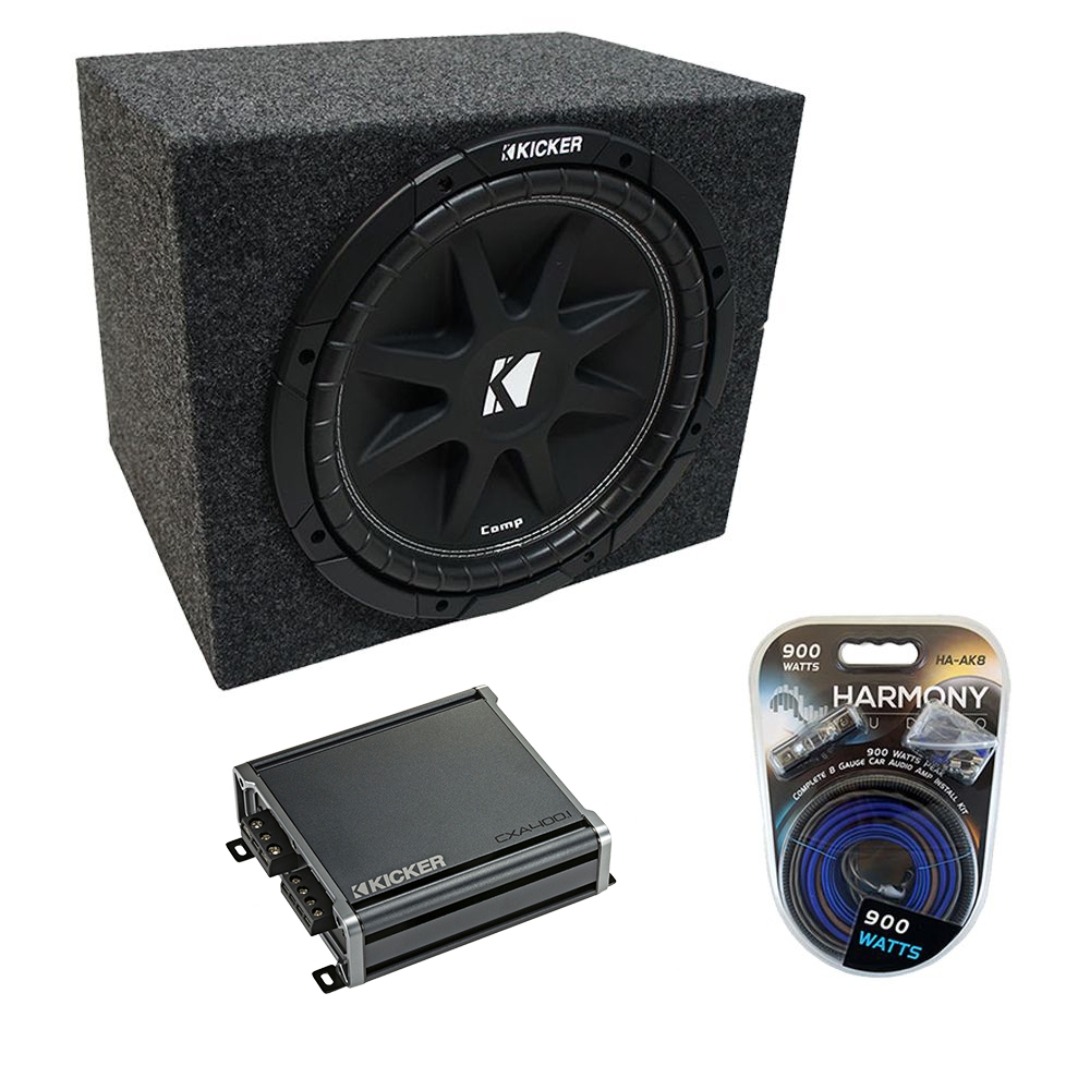 "Universal Car Stereo Rearfire Sealed Single 12"" Kicker Comp C12 Sub Box Enclosure & CXA400.1 Amp"