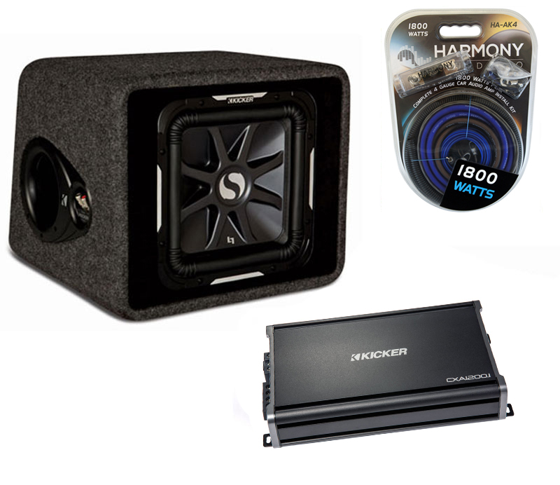 "Kicker Car Stereo Single L7 12"" VS12L7 Loaded Vented Sub Box, CX1200.1 Amplifier & Amp Install Kit"