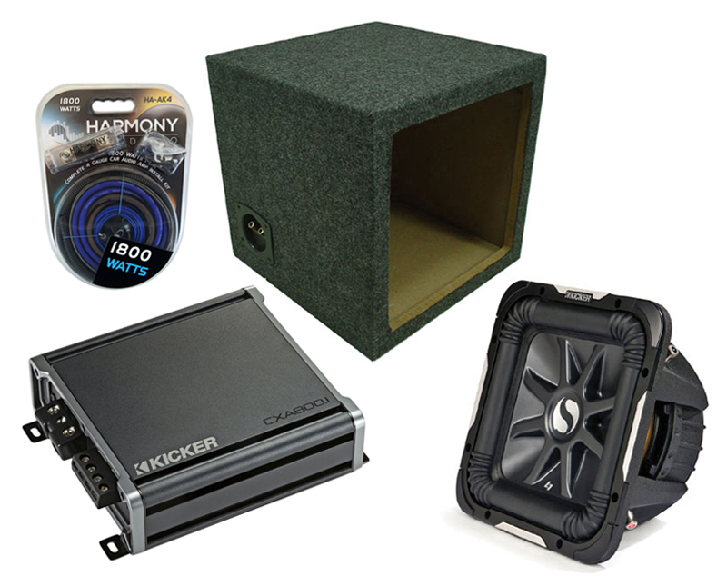 "Kicker Car Audio 15"" Loaded S15L7 Dual 4 Ohm Sealed Subwoofer Box, CX600.1 Amp & Amplifier Install Kit"