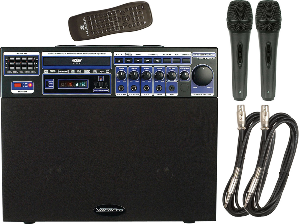 VocoPro DVD-SOUNDMAN BASIC 80W Multi-Format 4 Channel Portable Sound System w/ 2 Wired Mics