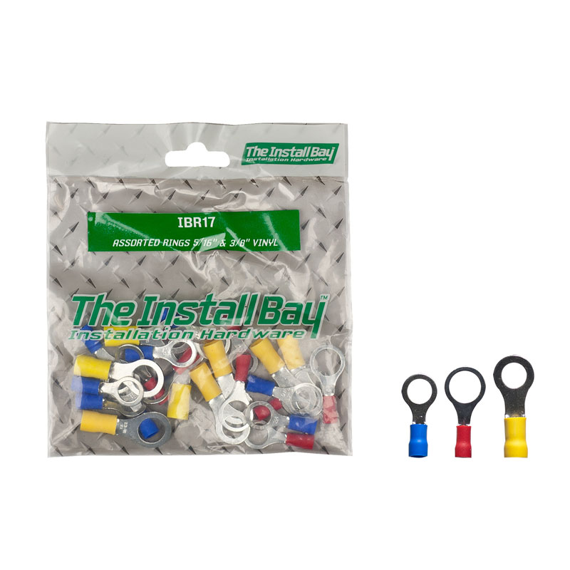 """Install Bay IBR17 Polybag Retail Packed Hardware 1 Bag of 24 Pcs Assorted Rings 5&16"""" 3/8"""" Vinyl"""