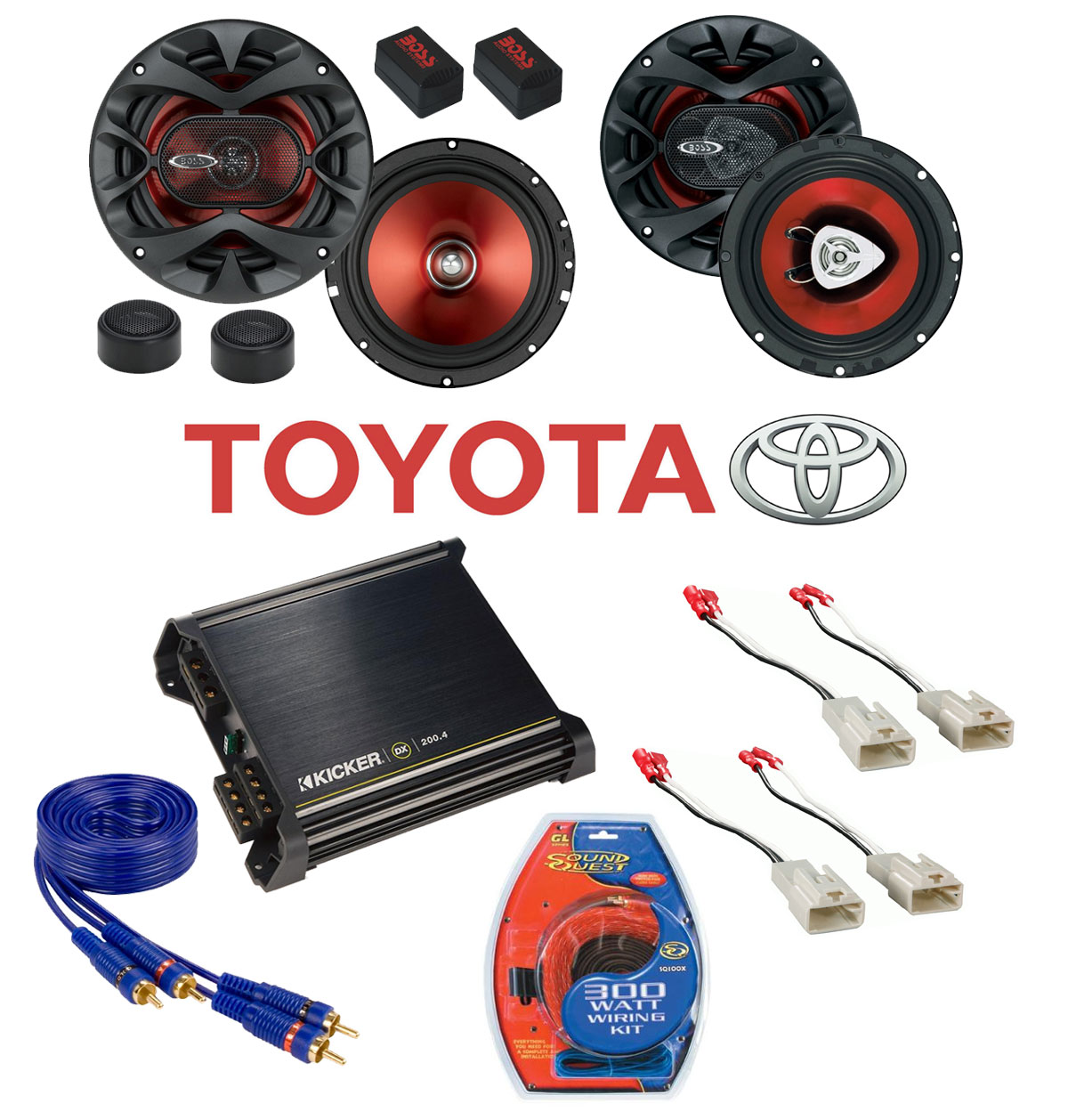 Toyota Corolla 1998-2002 Boss Factory Component Speaker Replacement CH6CK u0026 CH6500 Package with Kicker DX200.4 Amp  sc 1 st  HiFiSoundconnection : wiring component speakers to amp - yogabreezes.com