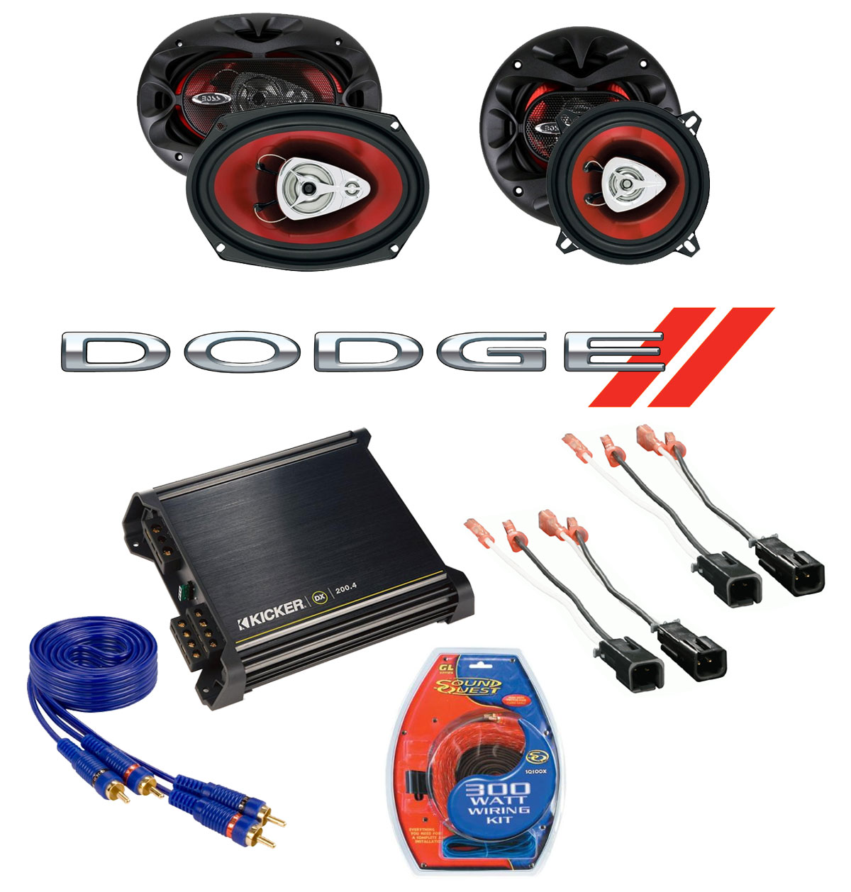 Dodge Caravan 1996-2000 Boss CH5520 & CH6930 Coaxial Factory Upgrade Replacement Speakers