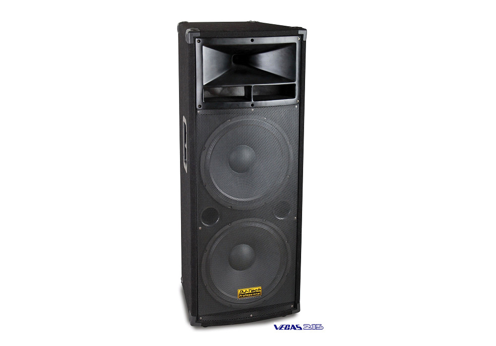 "DJ Tech Vegas 215 Two 15"" High-Power 3-Way Speaker System 1500w with Metal handles"