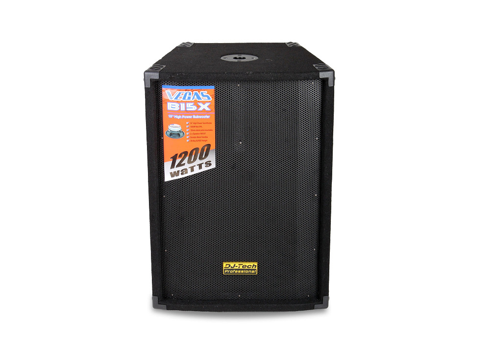 "DJ Tech Vegas B15X 15"" Passive Subwoofer System with durable metal handles"