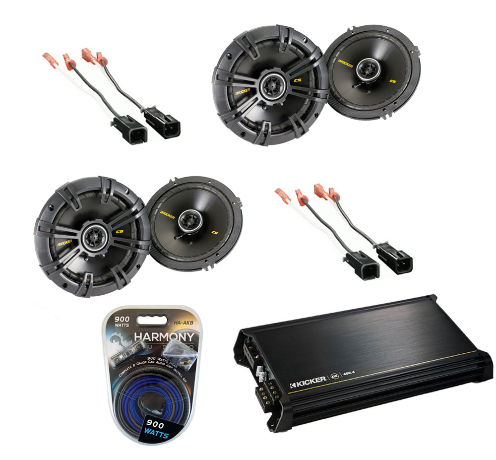 "Dodge Dakota 1997-1999 Kicker Factory 6 1/2"" Coaxial Speaker Replacement (2) CS654 Package with DX400.4 Amp"