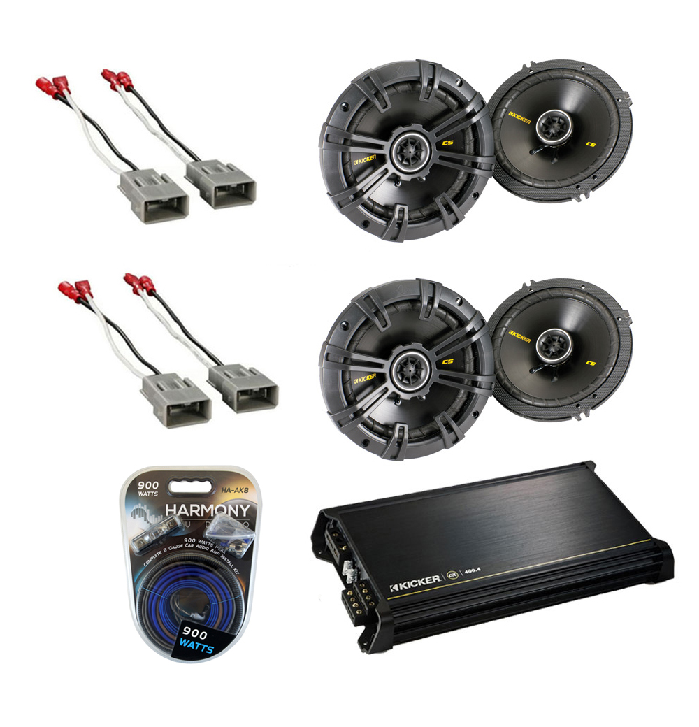 """Honda Insight 2001-2006 Kicker Factory 6 1/2"""" Coaxial Speaker Replacement (2) CS654 Package with DX400.4 Amp"""