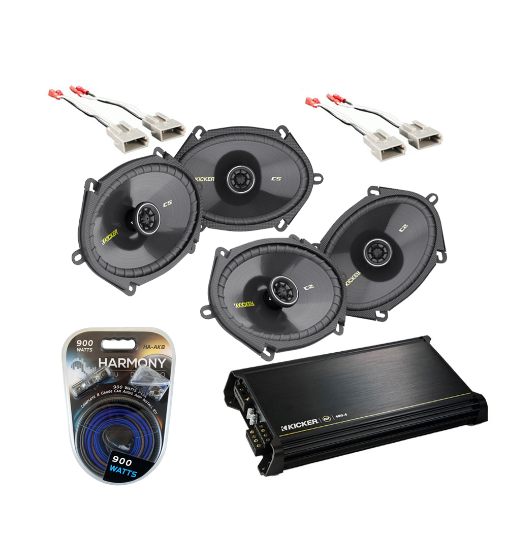 Ford F150 Extended Cab 97-99 Truck Kicker Factory 5x7 6x8 Coaxial Speaker Replacement (2) CS684 Package with DX400.4 Amp